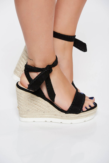 Black casual sandals from ecological leather braided platform details