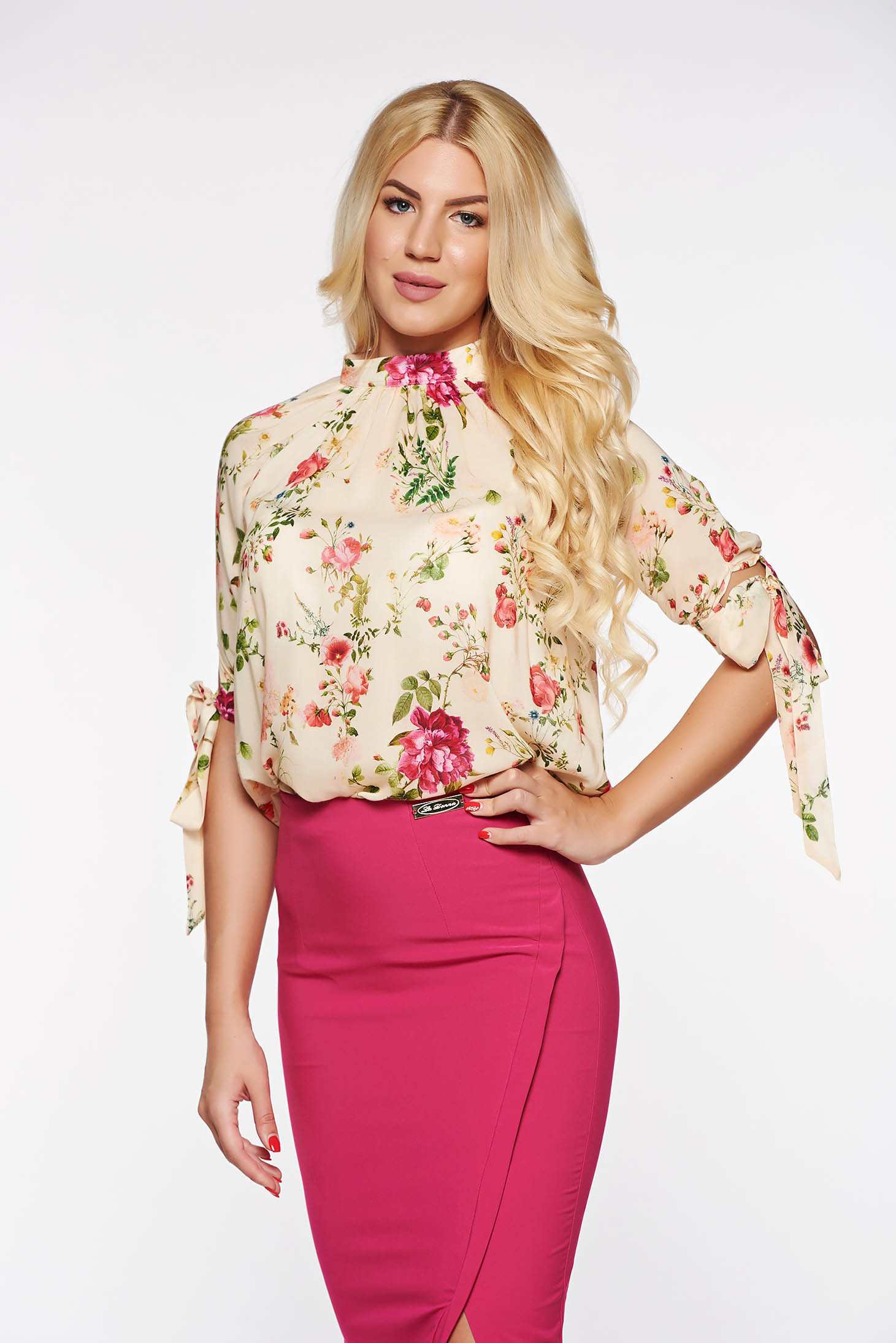 PrettyGirl cream elegant flared women`s blouse transparent chiffon fabric with floral prints