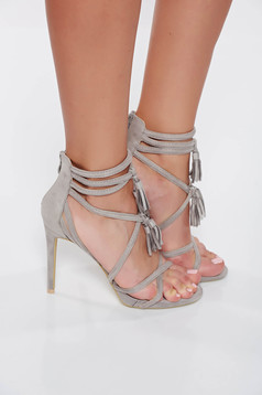 Grey with high heels sandals with straps from suede from ecological leather