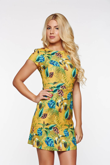 PrettyGirl mustard daily a-line dress slightly elastic fabric with floral prints