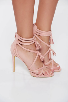 Pink with high heels sandals with straps from suede from ecological leather