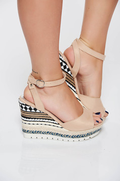 Cream casual sandals from ecological leather with straps