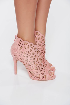 Pink sandals with cut out material elegant with high heels from ecological leather