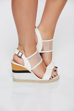 White casual sandals from ecological leather metallic buckle