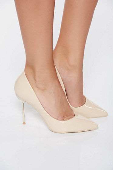 Cream elegant shoes from ecological varnished leather slightly pointed toe tip with high heels