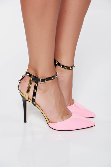 Pink elegant shoes with metallic spikes from ecological varnished leather