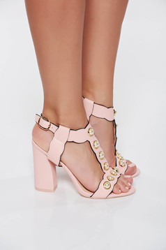 Rosa elegant sandals chunky heel with high heels from ecological leather with pearls