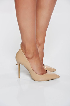 Nude with high heels elegant shoes slightly pointed toe tip stiletto from ecological leather