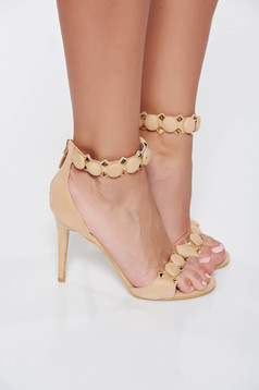 Cream elegant sandals with metallic spikes with high heels from ecological suede
