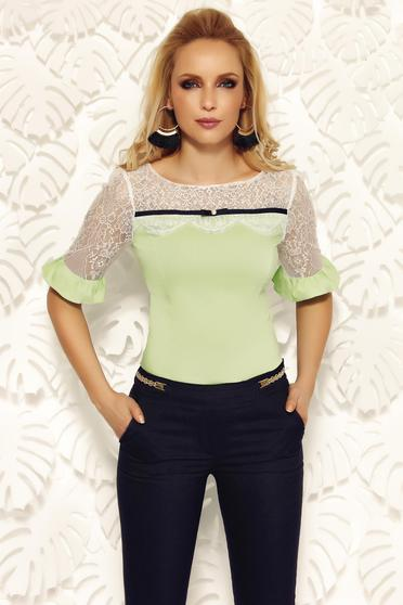 Fofy lightgreen office women`s shirt cotton with tented cut with lace details