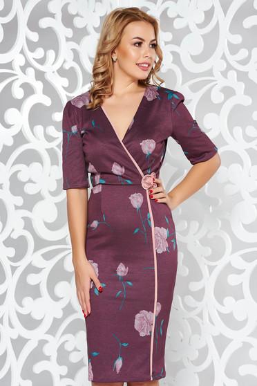 Fofy brown elegant pencil dress with v-neckline slightly elastic fabric
