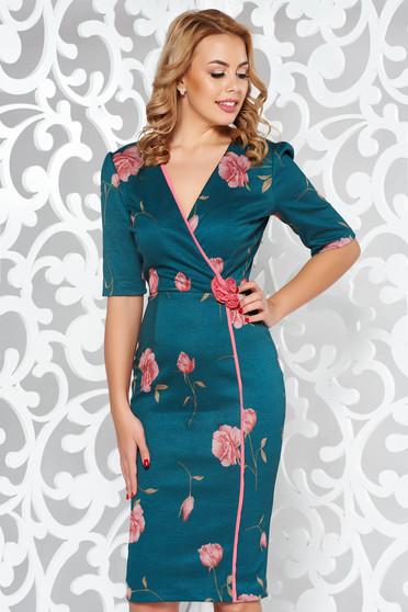 Fofy darkgreen elegant pencil dress with v-neckline slightly elastic fabric