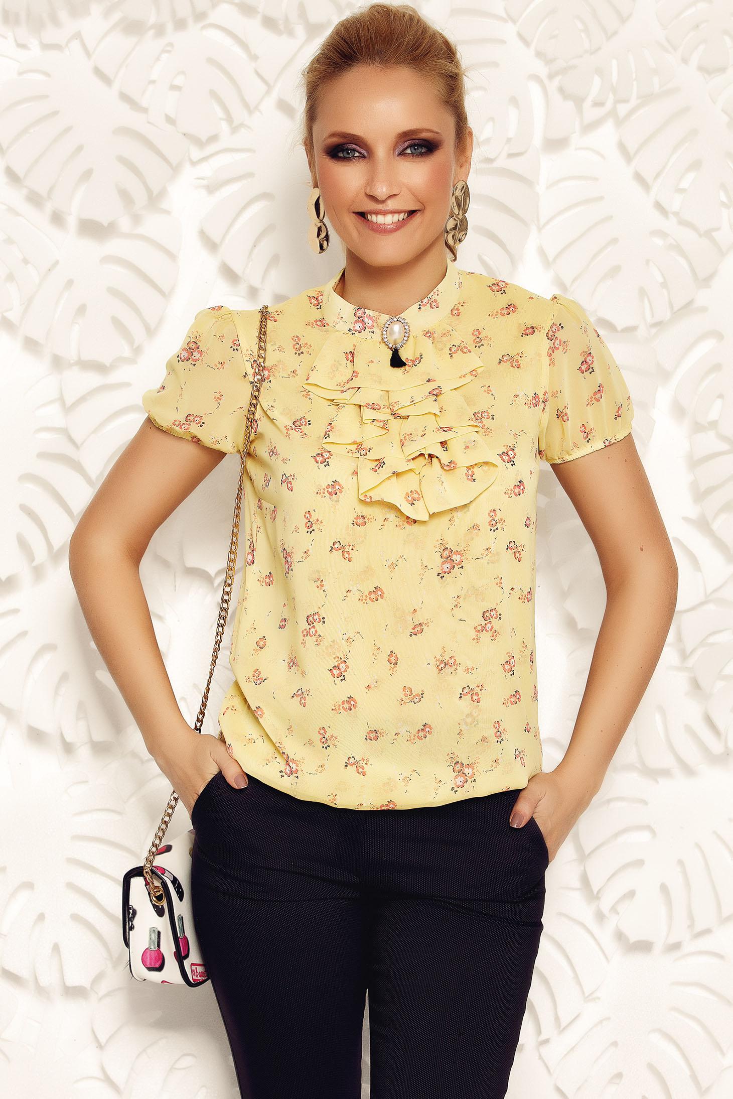 Fofy yellow elegant flared women`s blouse transparent chiffon fabric with elastic waist