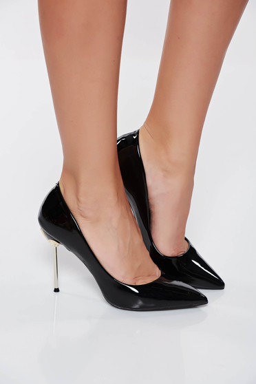 Black elegant shoes from ecological varnished leather slightly pointed toe tip with high heels