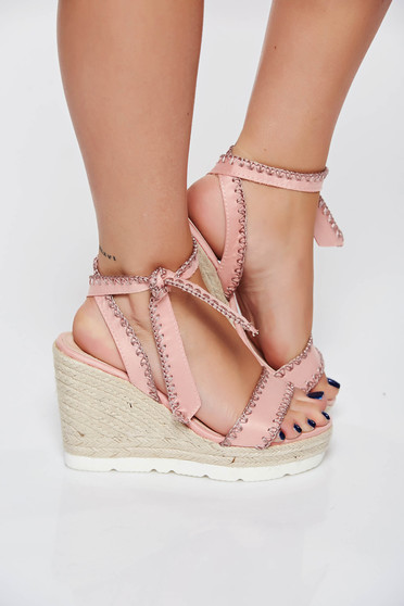 Rosa casual sandals from ecological leather braided platform details