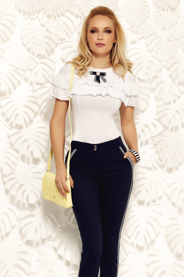 Fofy white office women`s shirt cotton with tented cut with ruffle details