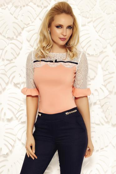 Fofy peach office women`s shirt cotton with tented cut with lace details