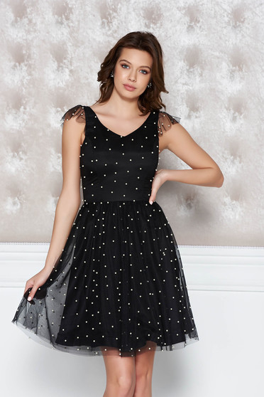 StarShinerS black occasional cloche dress from tulle with pearls with inside lining