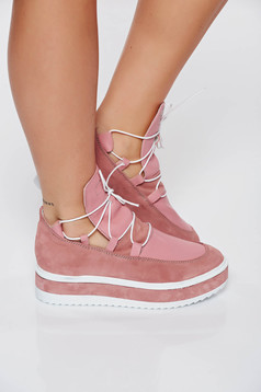 Casual rosa sneakers natural leather low heel with laced details