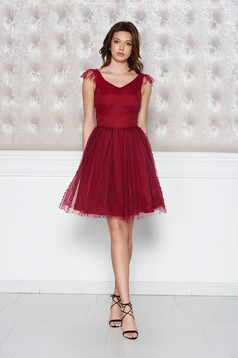 StarShinerS burgundy occasional cloche dress from tulle with pearls with inside lining
