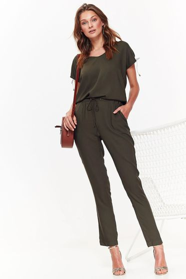 Top Secret green casual jumpsuit airy fabric is fastened around the waist with a ribbon