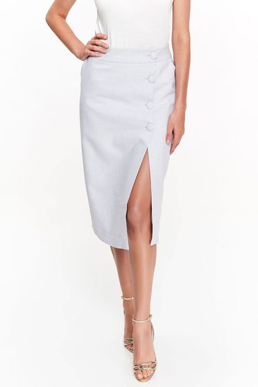 Top Secret lightgrey office high waisted skirt nonelastic cotton with button accessories