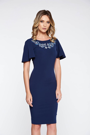StarShinerS darkblue elegant pencil embroidered dress flexible thin fabric/cloth with cut back