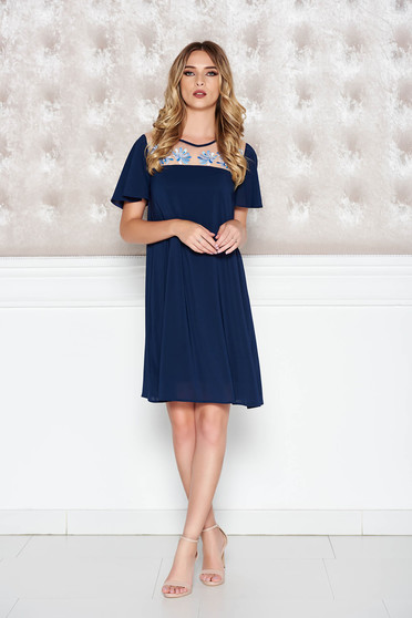 StarShinerS darkblue occasional flared embroidered dress from veil fabric with inside lining