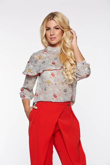 PrettyGirl grey elegant flared women`s blouse transparent chiffon fabric with ruffles on the chest