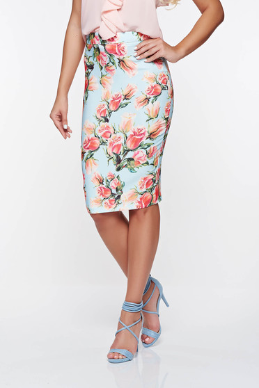 PrettyGirl blue office high waisted skirt with floral prints soft fabric