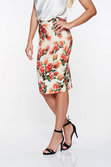 PrettyGirl red office high waisted skirt with floral prints soft fabric
