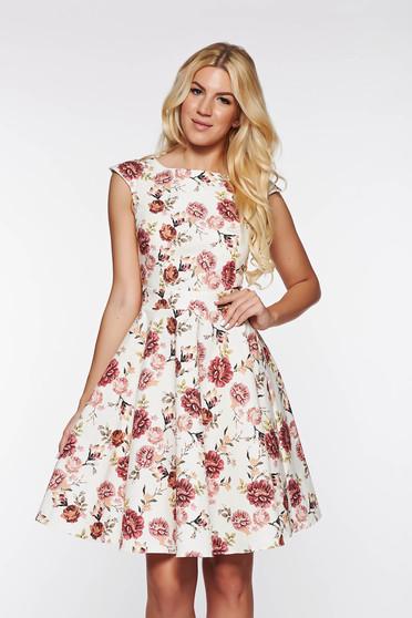PrettyGirl rosa dress slightly elastic cotton flaring cut with floral print