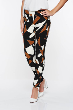 PrettyGirl brown office conical trousers with medium waist with geometrical print