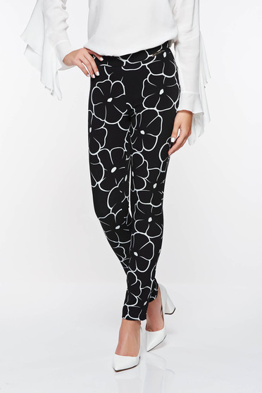 PrettyGirl black office conical trousers with medium waist with geometrical print