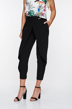 PrettyGirl black elegant conical trousers thin airy fabric