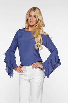 PrettyGirl elegant women`s blouse with easy cut airy fabric with ruffled sleeves darkblue
