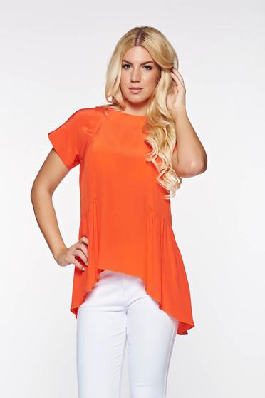 PrettyGirl coral elegant asymmetrical women`s blouse airy fabric with easy cut