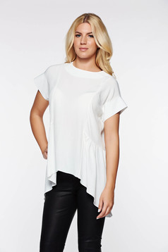 PrettyGirl white elegant asymmetrical women`s blouse airy fabric with easy cut
