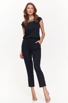Top Secret elegant sleeveless black jumpsuit airy fabric is fastened around the waist with a ribbon