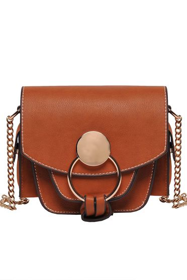 Top Secret brown casual bag from ecological leather long chain handle