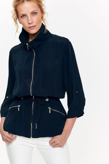 Top Secret darkblue casual with easy cut jacket nonelastic fabric is fastened around the waist with a ribbon