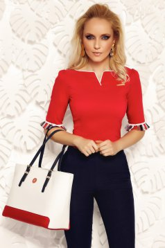 Fofy red office women`s shirt elastic cotton with tented cut