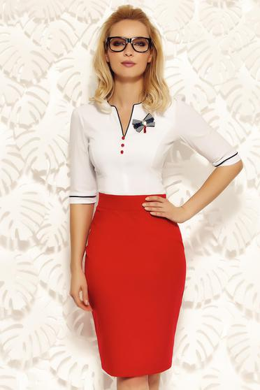Fofy white office women`s shirt cotton with tented cut accessorized with breastpin