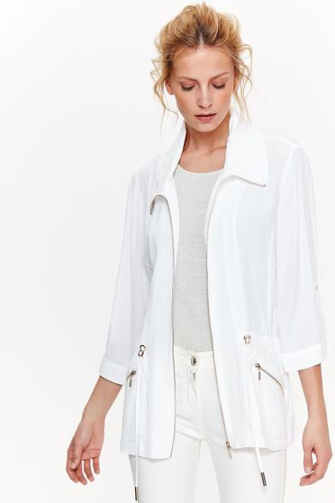 Top Secret white casual with easy cut jacket nonelastic fabric is fastened around the waist with a ribbon