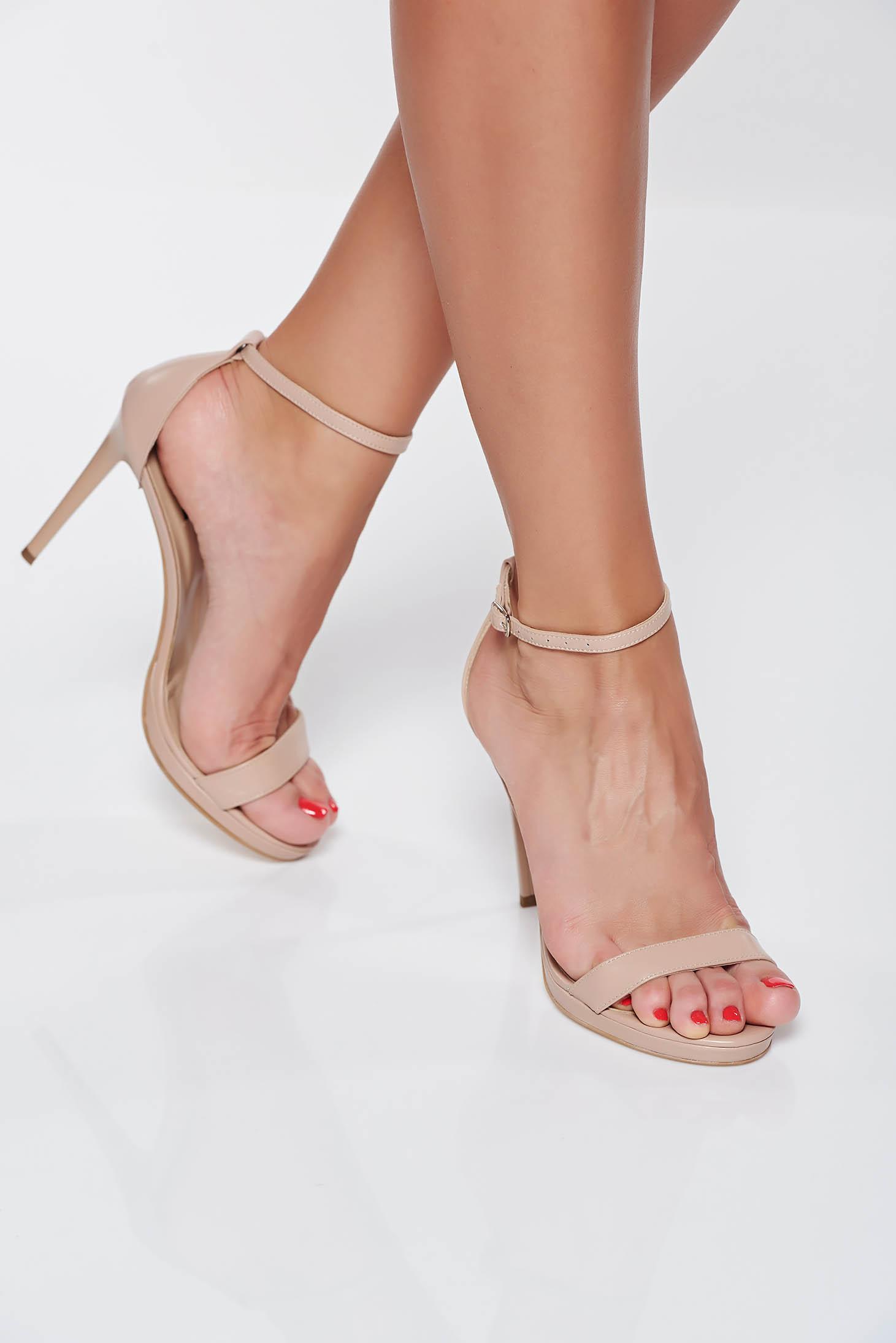 Sandale crem din piele naturala cu toc inalt elegante inaltime toc: 11 cm