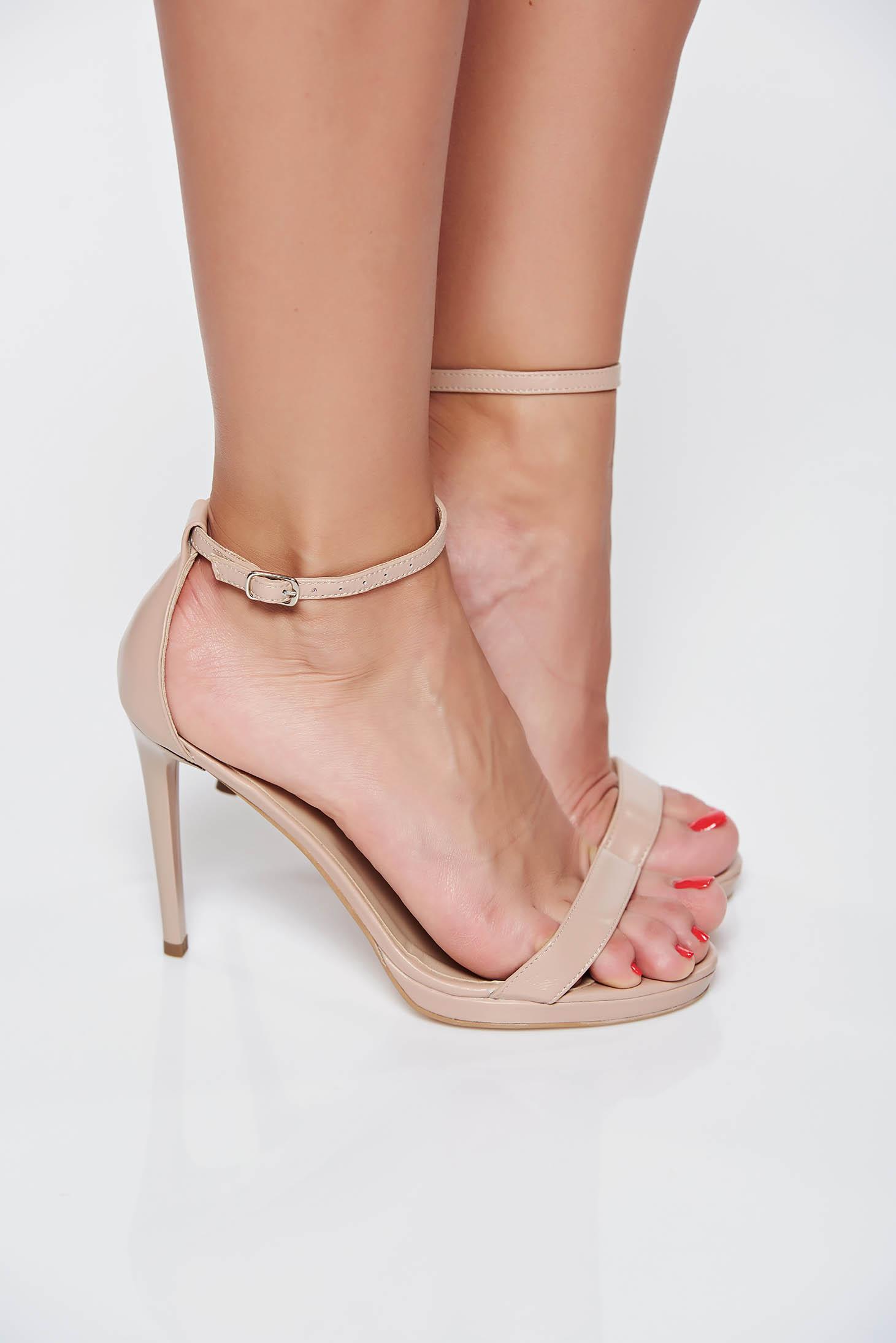 Sandale negre elegante din piele naturala cu toc inalt
