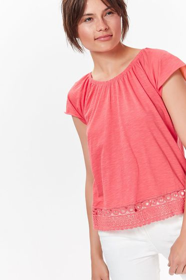 Top Secret pink women`s blouse casual with lace details from soft fabric with easy cut