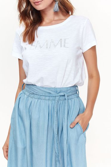 Top Secret white women`s blouse casual with easy cut from soft fabric with print details