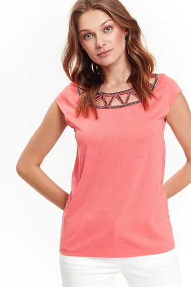 Top Secret pink women`s blouse with easy cut casual nonelastic fabric with cut out material