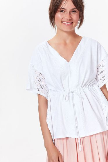 Top Secret white women`s blouse casual cotton with easy cut with v-neckline